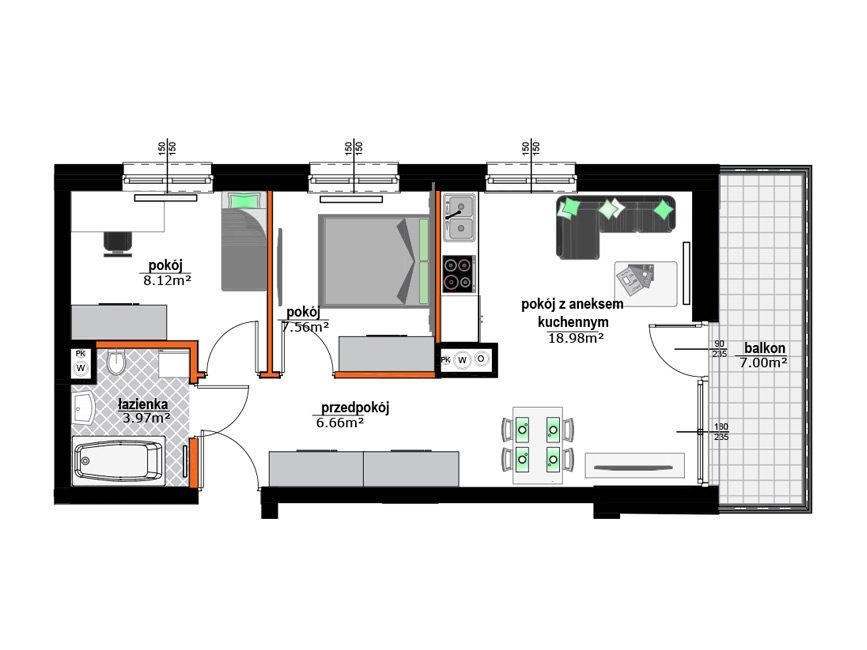 Rzut mieszkania - M25