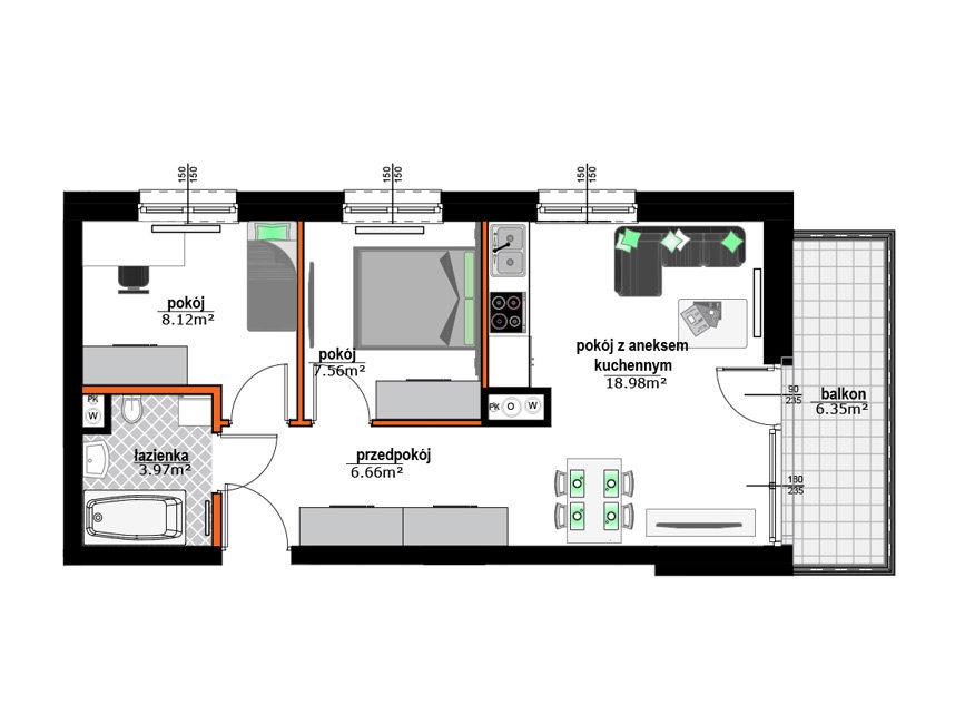 Rzut mieszkania - M31