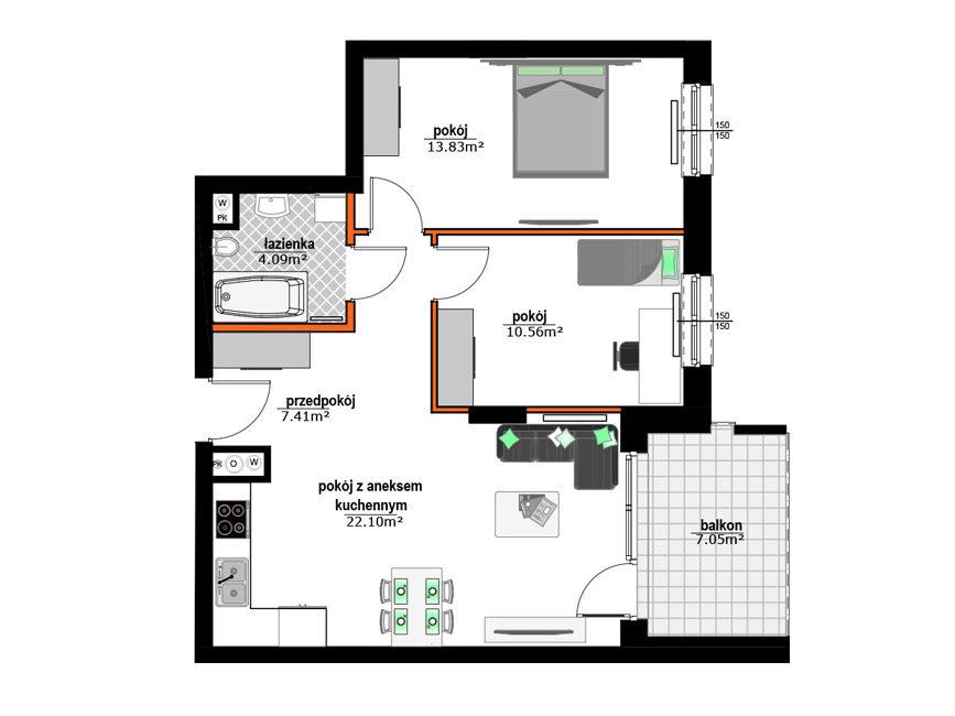 Rzut mieszkania - M32