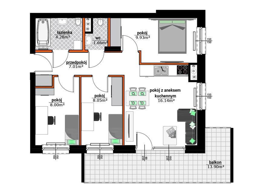 Rzut mieszkania - M33
