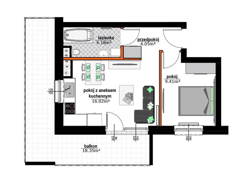 Rzut mieszkania - M34