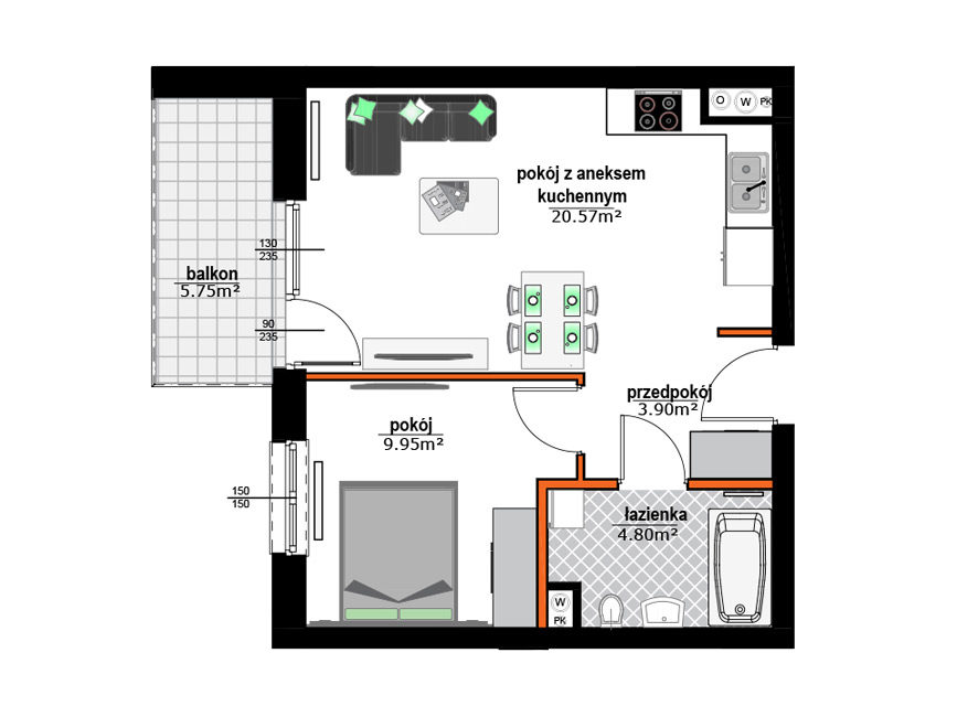 Rzut mieszkania - M35