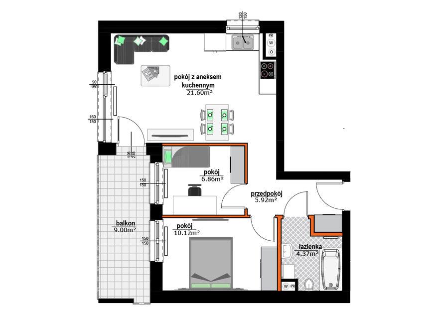 Rzut mieszkania - M36