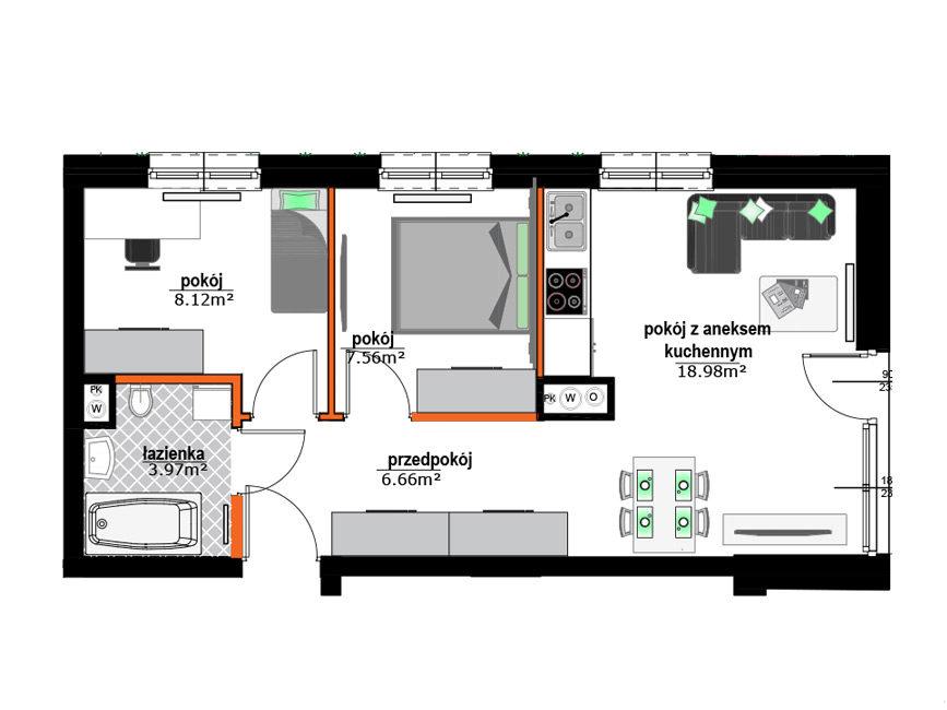 Rzut mieszkania - M1