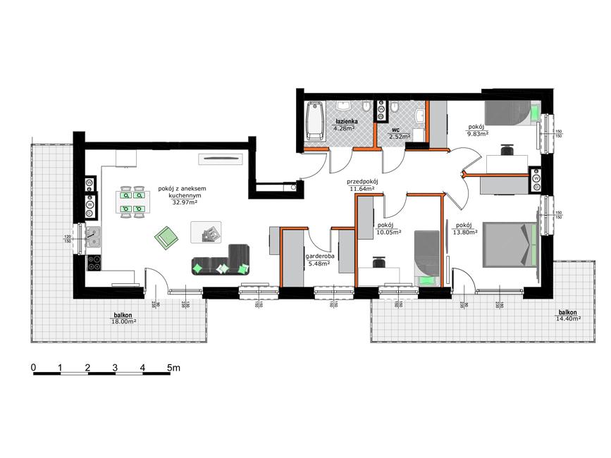 Rzut mieszkania - M15