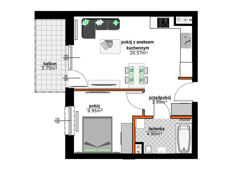 Rzut mieszkania - M17