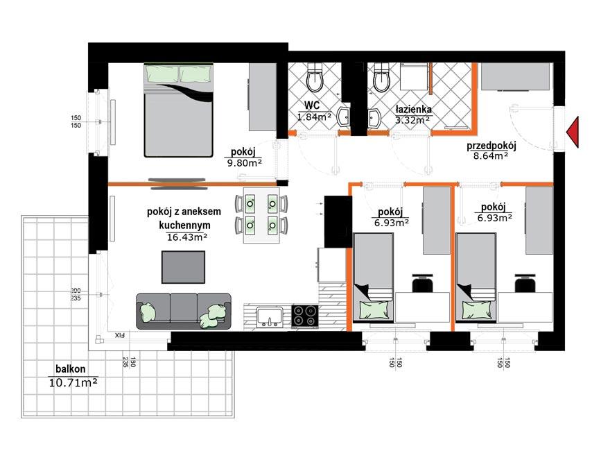 Rzut mieszkania - 17