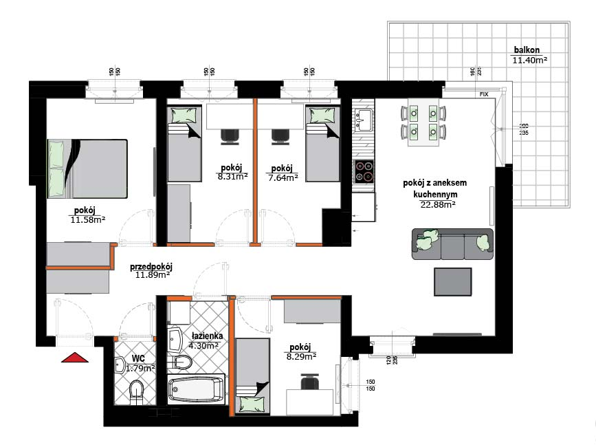 Rzut mieszkania - 11