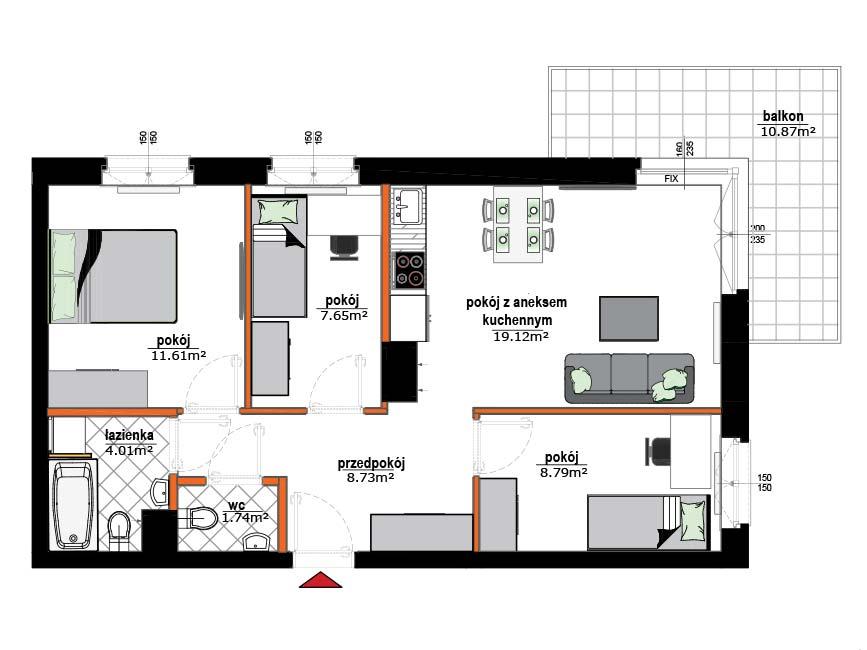 Rzut mieszkania - 12
