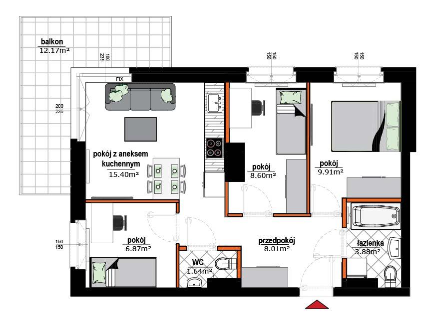 Rzut mieszkania - 14