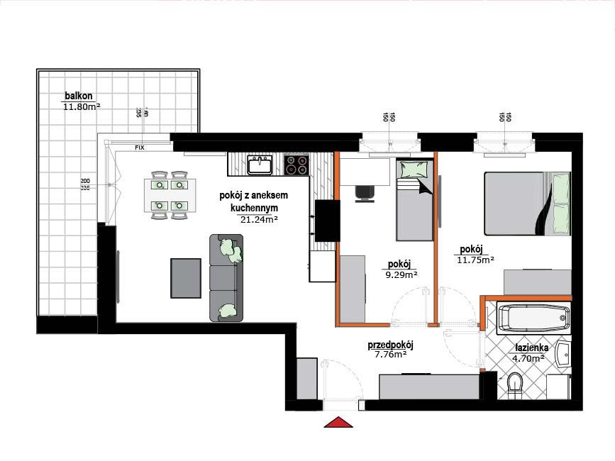 Rzut mieszkania - 7