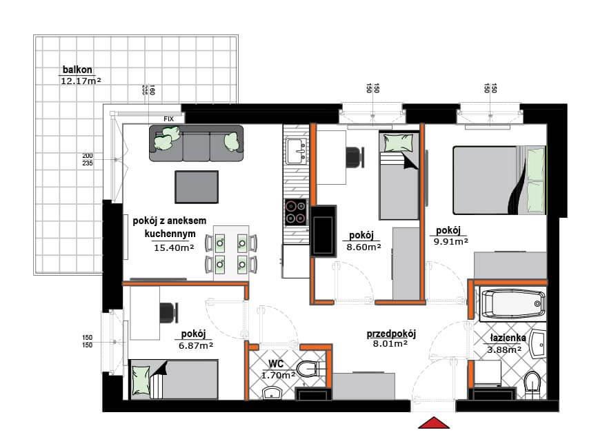 Rzut mieszkania - 8