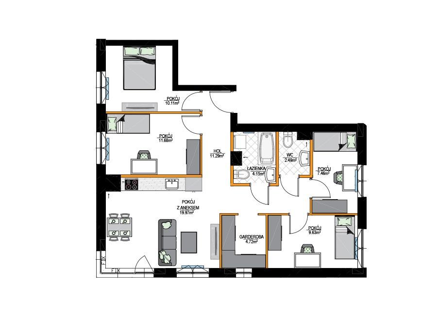 Rzut mieszkania - M01