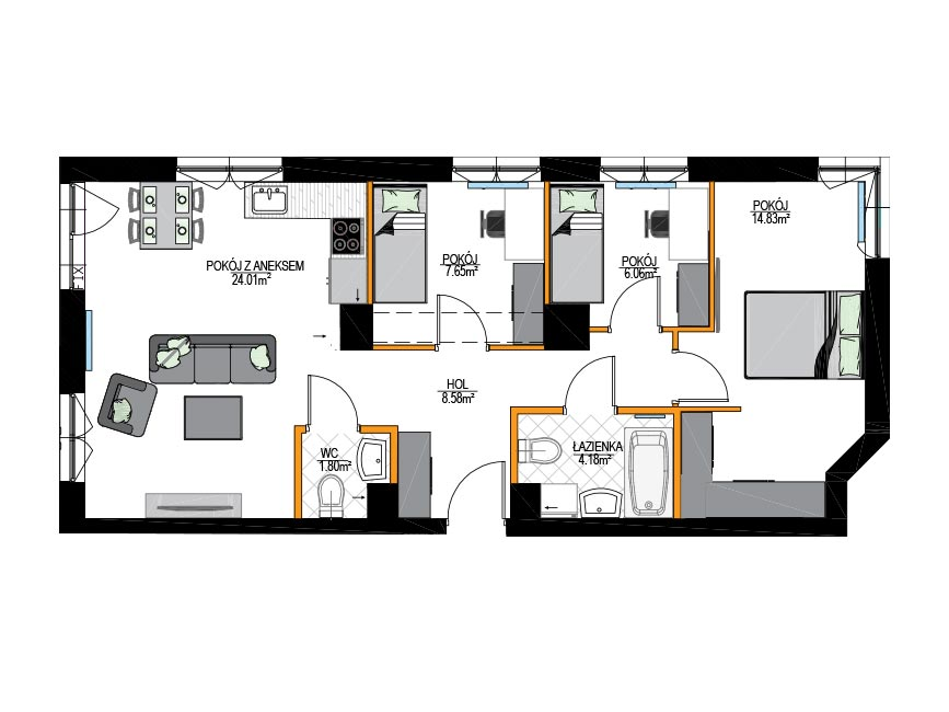 Rzut mieszkania - M3