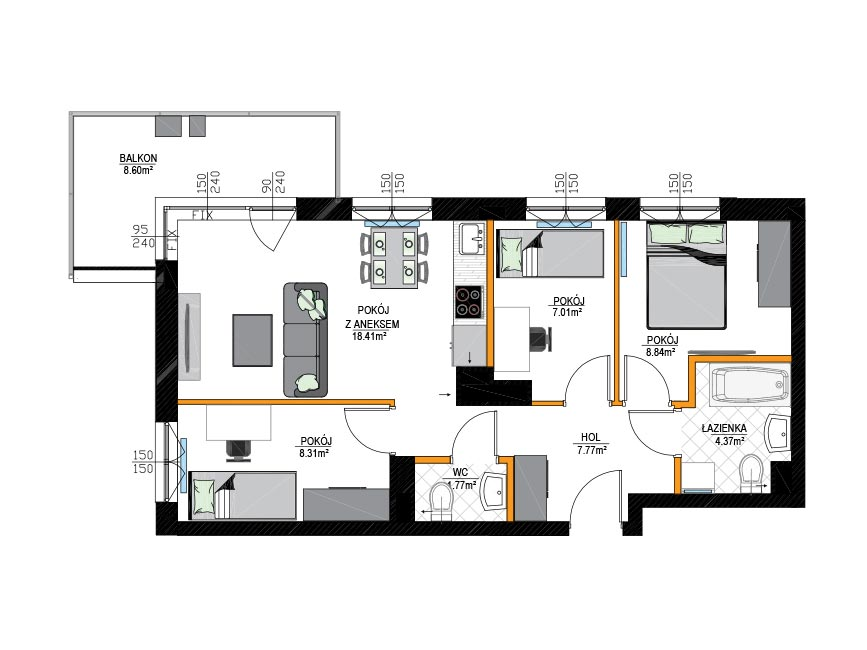 Rzut mieszkania - M6