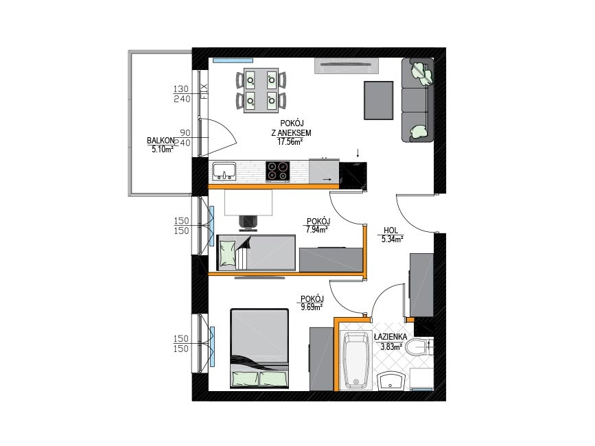 Rzut mieszkania - M9