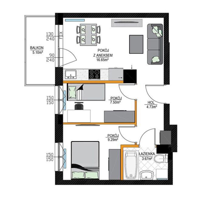 Rzut mieszkania - M13