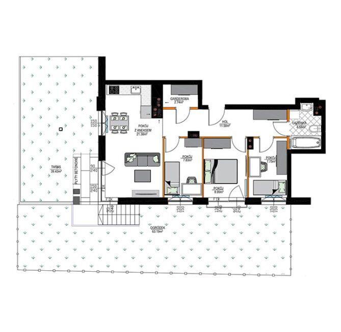 Rzut mieszkania - M02