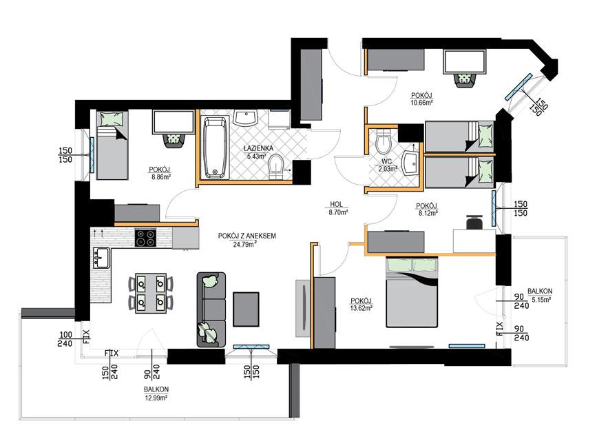 Rzut mieszkania - M20