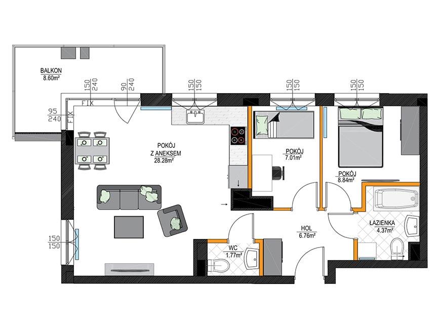 Rzut mieszkania - M22