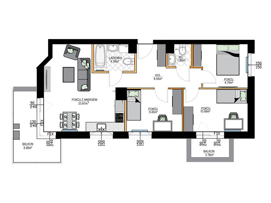 Rzut mieszkania - M23