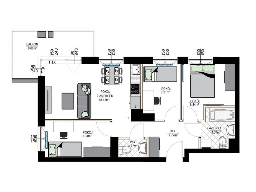 Rzut mieszkania - M06