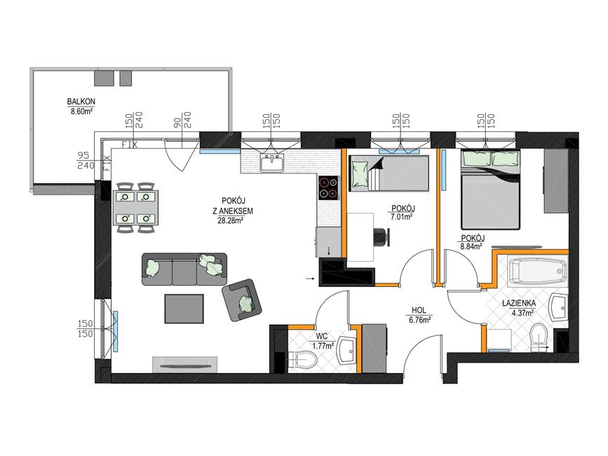 Rzut mieszkania - M14