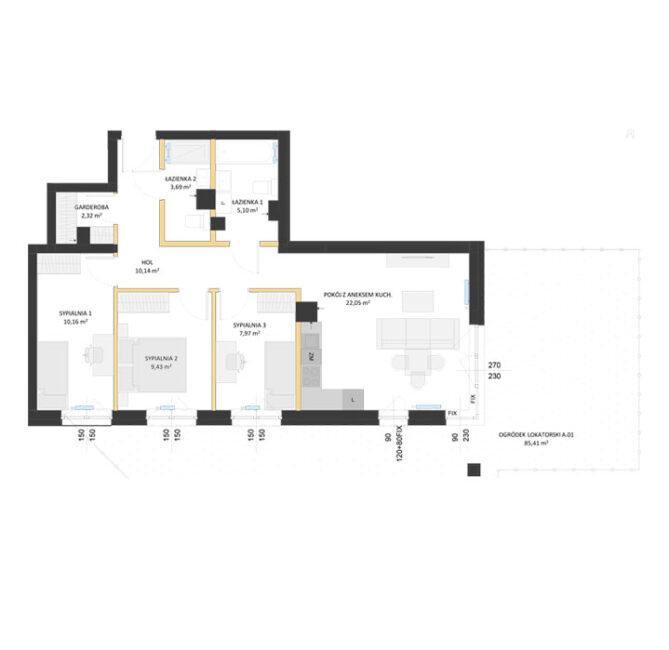 Rzut mieszkania - AM01