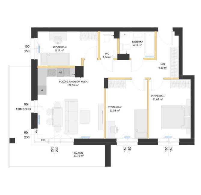 Rzut mieszkania - AM13