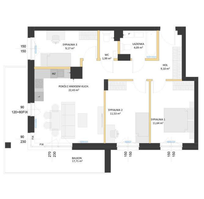 Rzut mieszkania - AM21