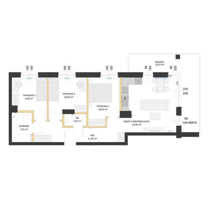 Rzut mieszkania - AM22