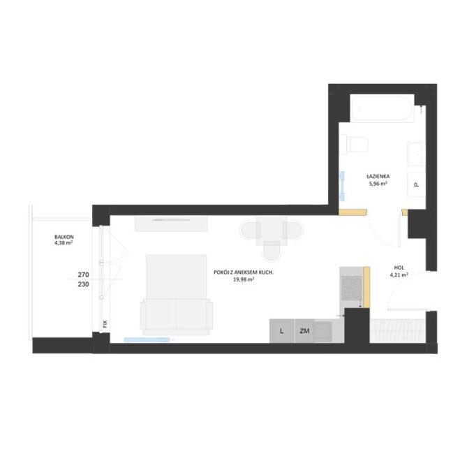 Rzut mieszkania - AM28