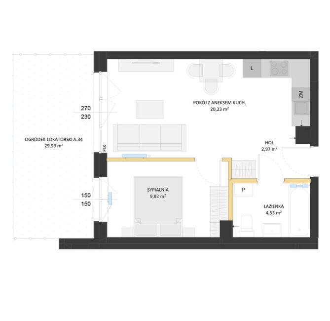 Rzut mieszkania - AM34