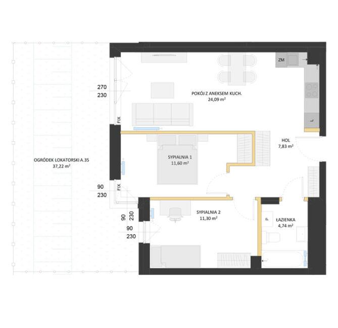 Rzut mieszkania - AM35