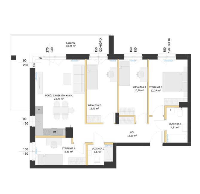 Rzut mieszkania - AM46