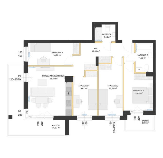 Rzut mieszkania - AM47