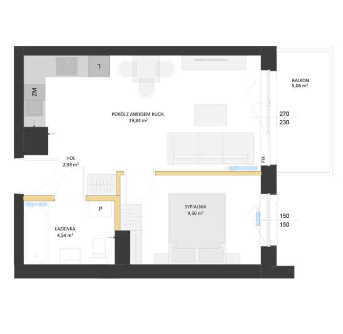 Rzut mieszkania - AM50