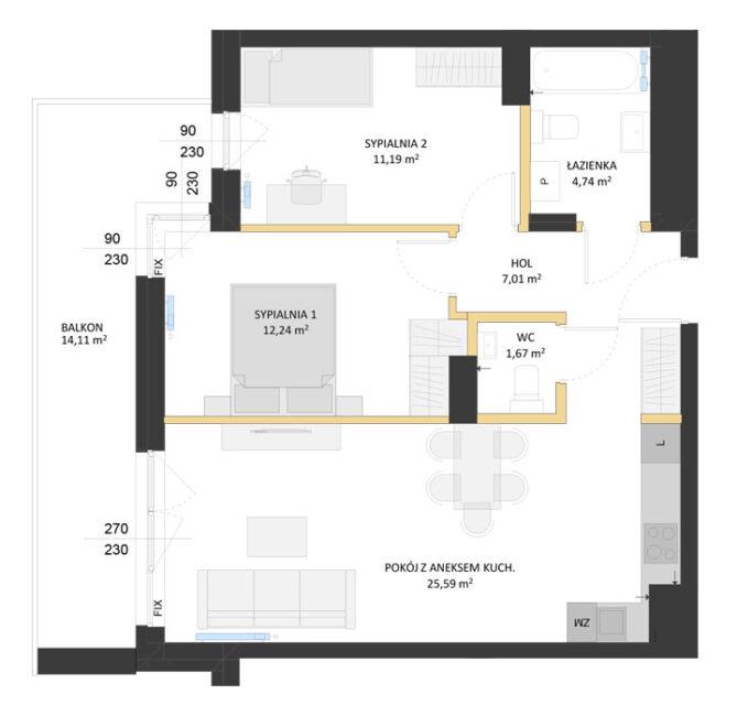 Rzut mieszkania - AM54