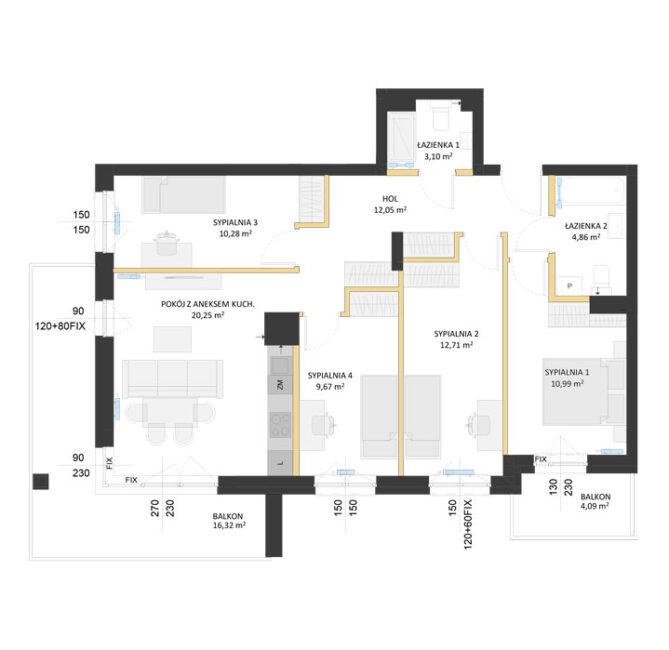 Rzut mieszkania - AM56