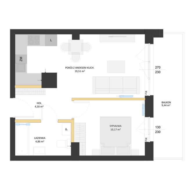 Rzut mieszkania - AM57