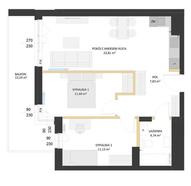 Rzut mieszkania - AM62