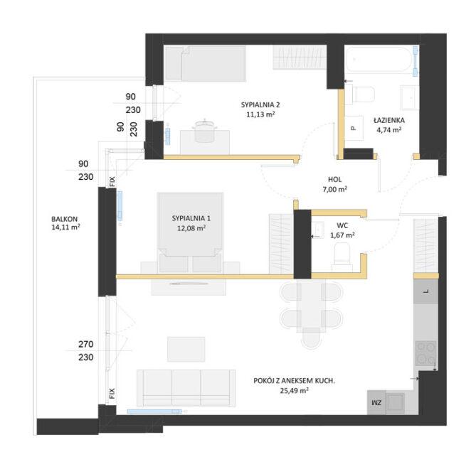 Rzut mieszkania - AM63