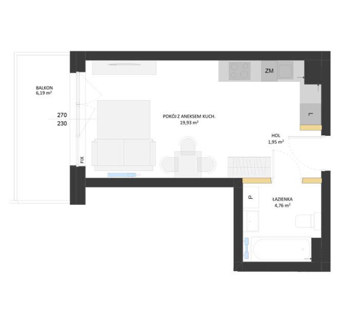 Rzut mieszkania - AM08
