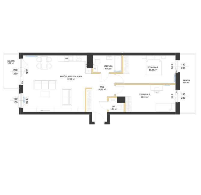 Rzut mieszkania - AM51
