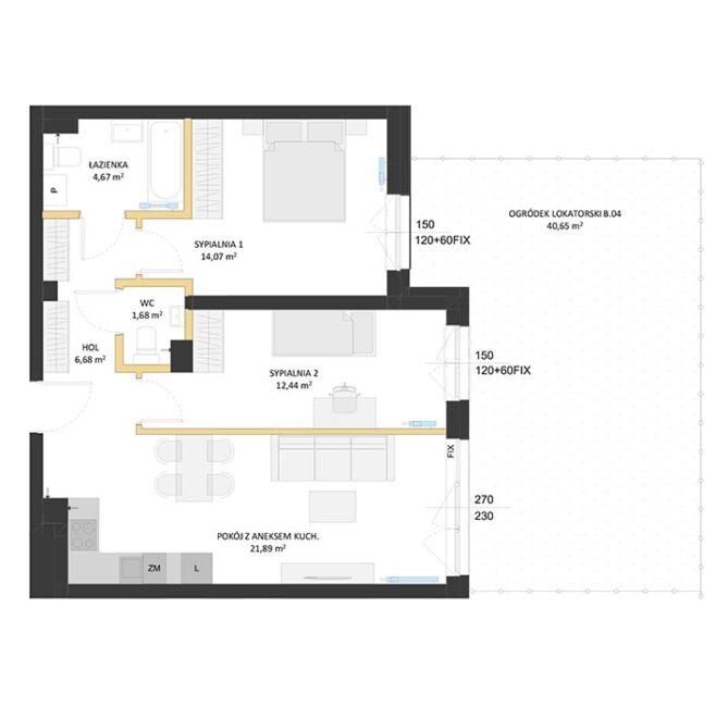 Rzut mieszkania - BM04