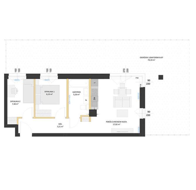 Rzut mieszkania - BM07