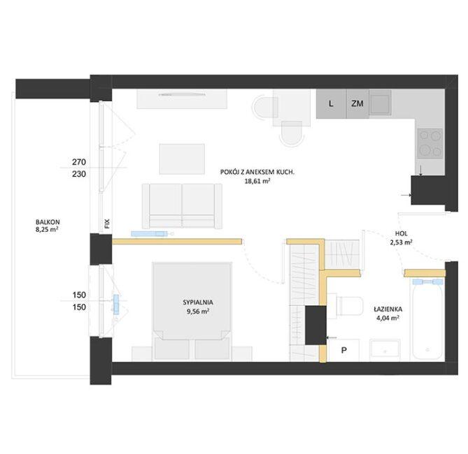 Rzut mieszkania - BM09