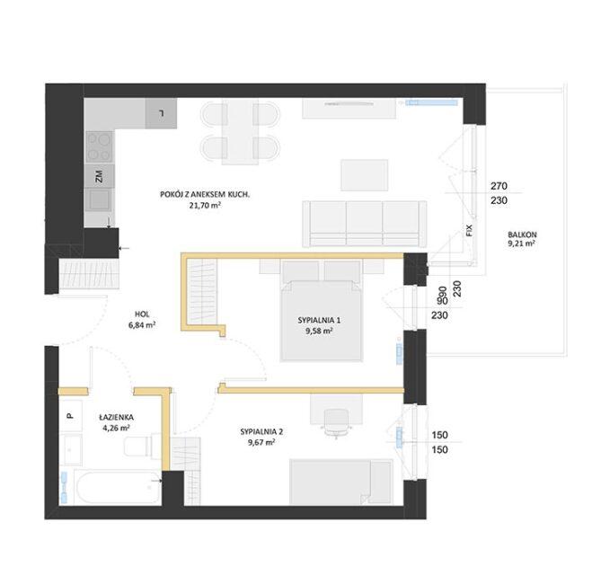 Rzut mieszkania - BM11