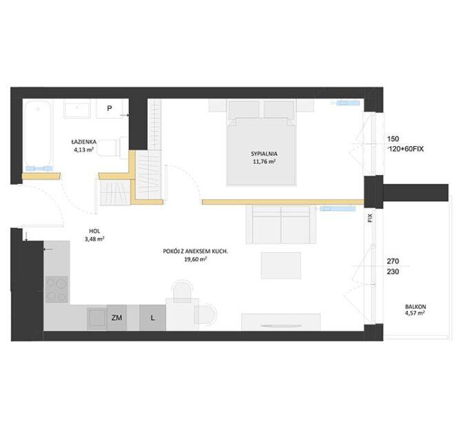 Rzut mieszkania - BM22
