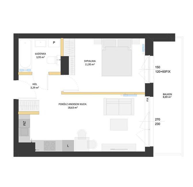 Rzut mieszkania - BM24